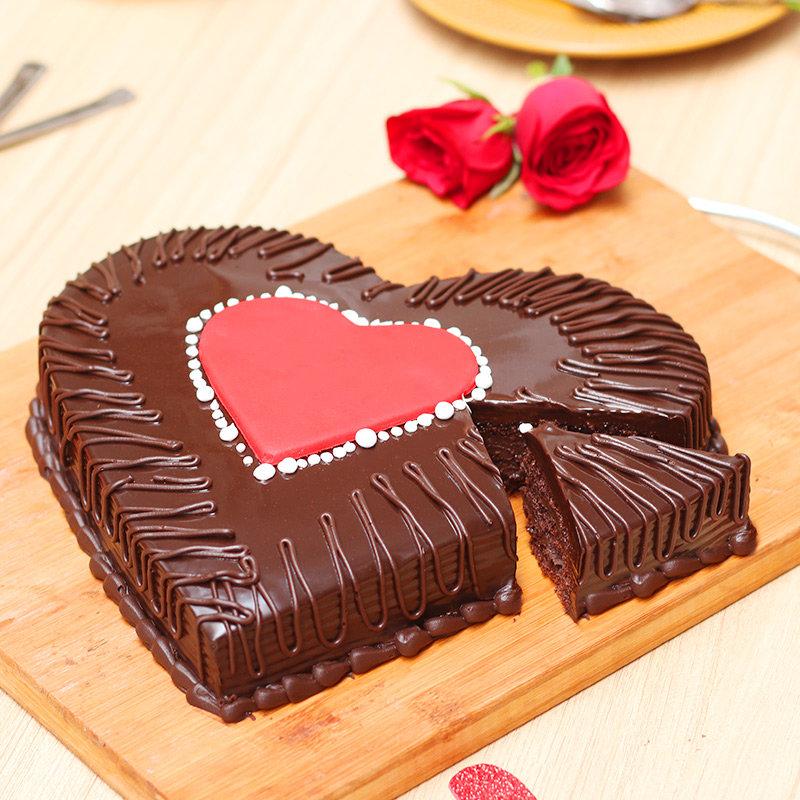 Side view of Chocolate Truffle Love Cake