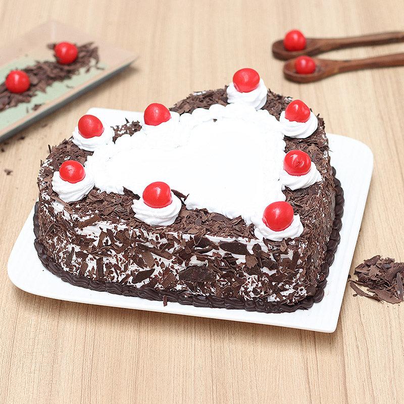 Heart-Shape Black Forest Birthday Cake