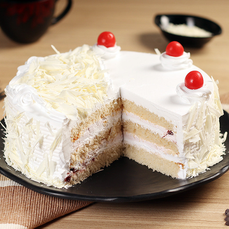 Front view of White Forest Cake