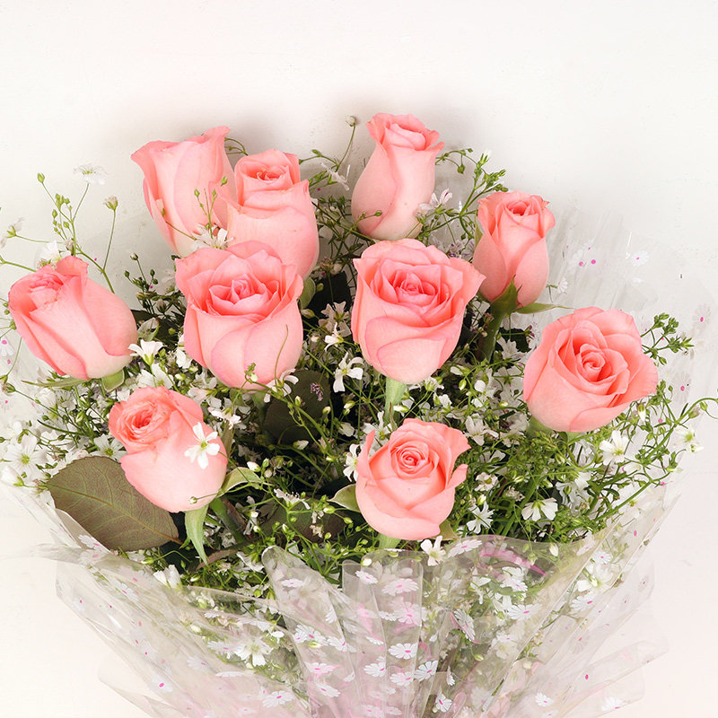 Bunch of Ten Pink Roses with Zoomed in View