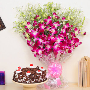 Orchids Special Combo - Bunch of 6 Purple Orchids and half kg Blackforest Cake