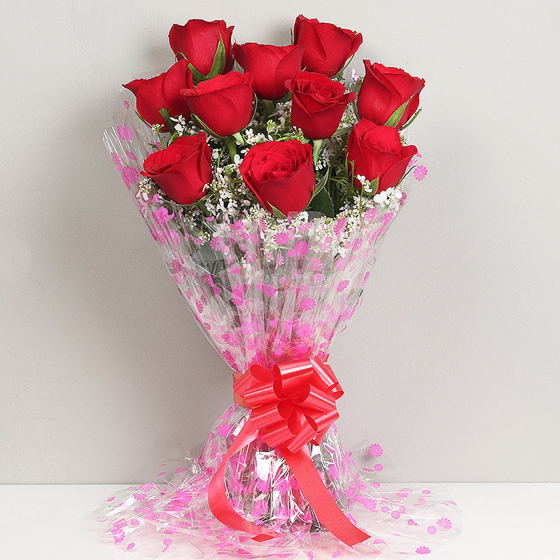Order Red Roses Bouquet Font View