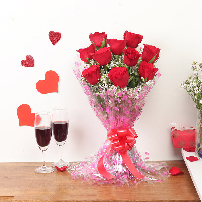 Buy Red Roses Bouquet Wide View