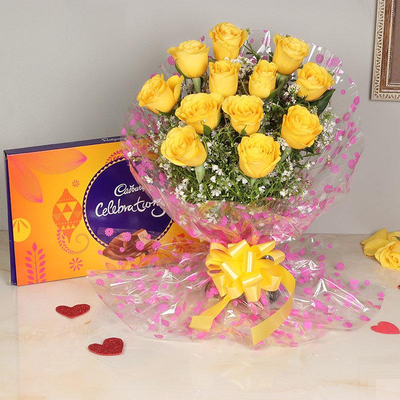 Combo of 12 Yellow Roses and Cadbury Chocolate