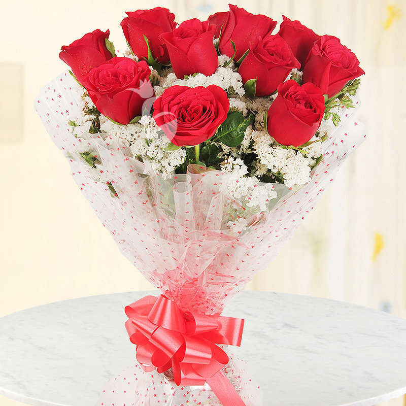 Front view of 10 red roses bunch - A gift of Serene Love Combo