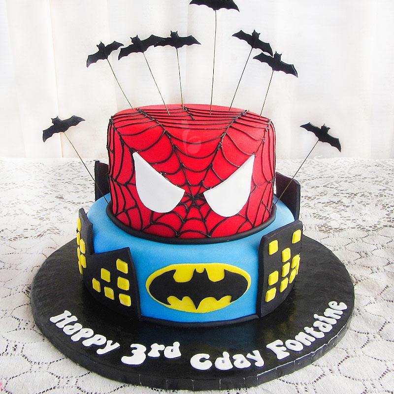 Spiderman Batman Theme Cake