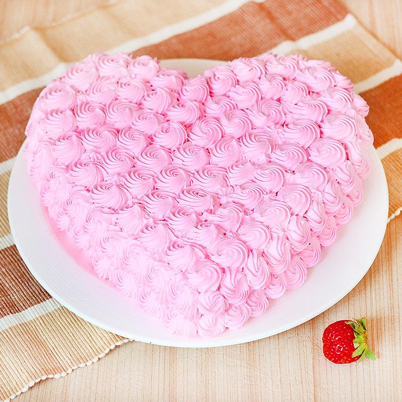 Heart-shape Strawberry Anniversary Cake Eggless - Zoom View