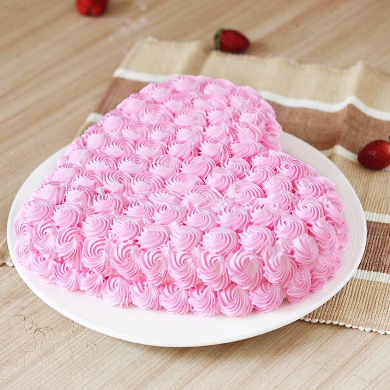 Heart-shape Strawberry Anniversary Cake Eggless - Top View