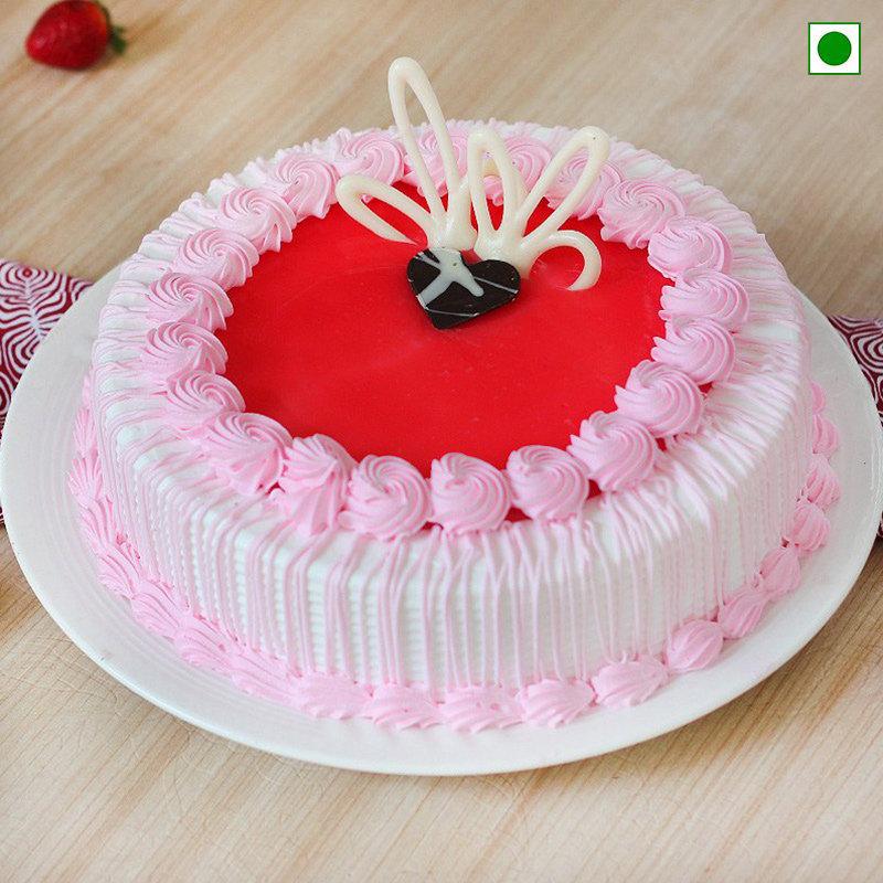 Strawberry birthday Cake 1 Kg Eggless