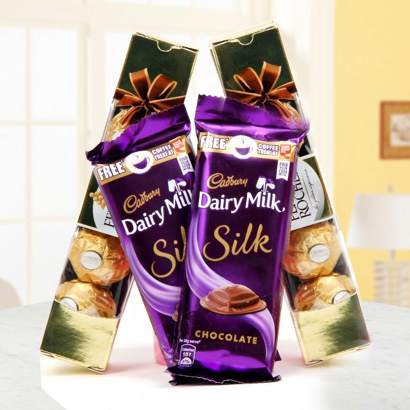 gift of 2 Dairy Milk Silk and 2 packs containing 4 Ferrero Rocher