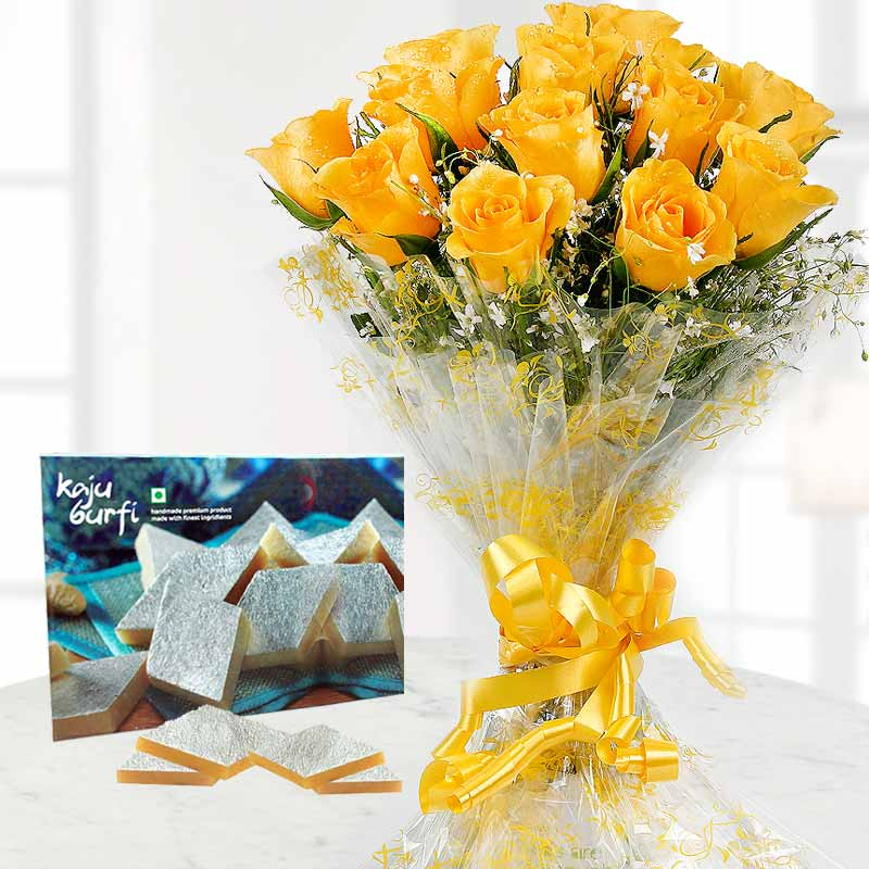 Yellow Roses Bunch and Kaju Katli