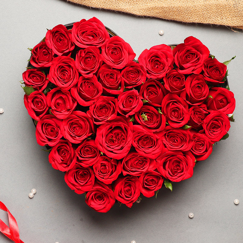 35 heart shaped roses bouquet - First gift in Ultimate Fantasy