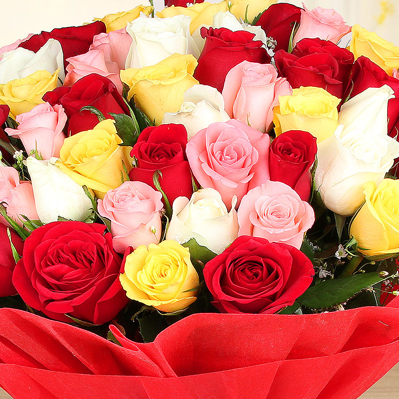 Bunch of 50 mixed roses in Zoomed View