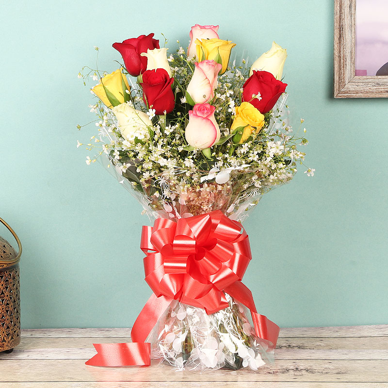 12 Mixed Color Roses Bunch on Table