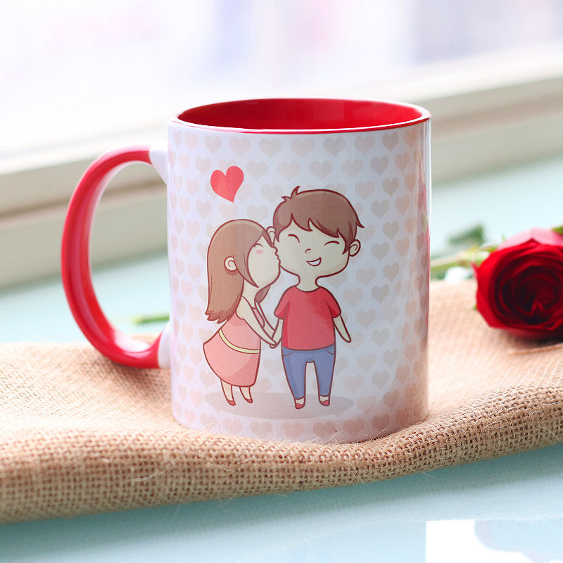 Love Forever Printed Couple Mug with Back Sided View