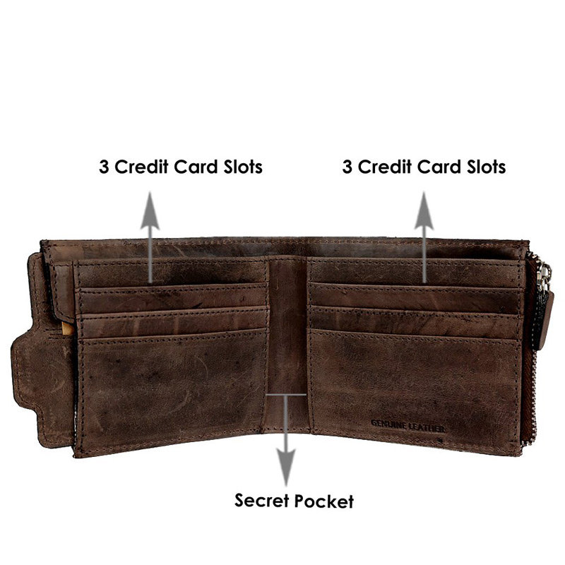 Opened view of Dark Brown Color Leather Wallet