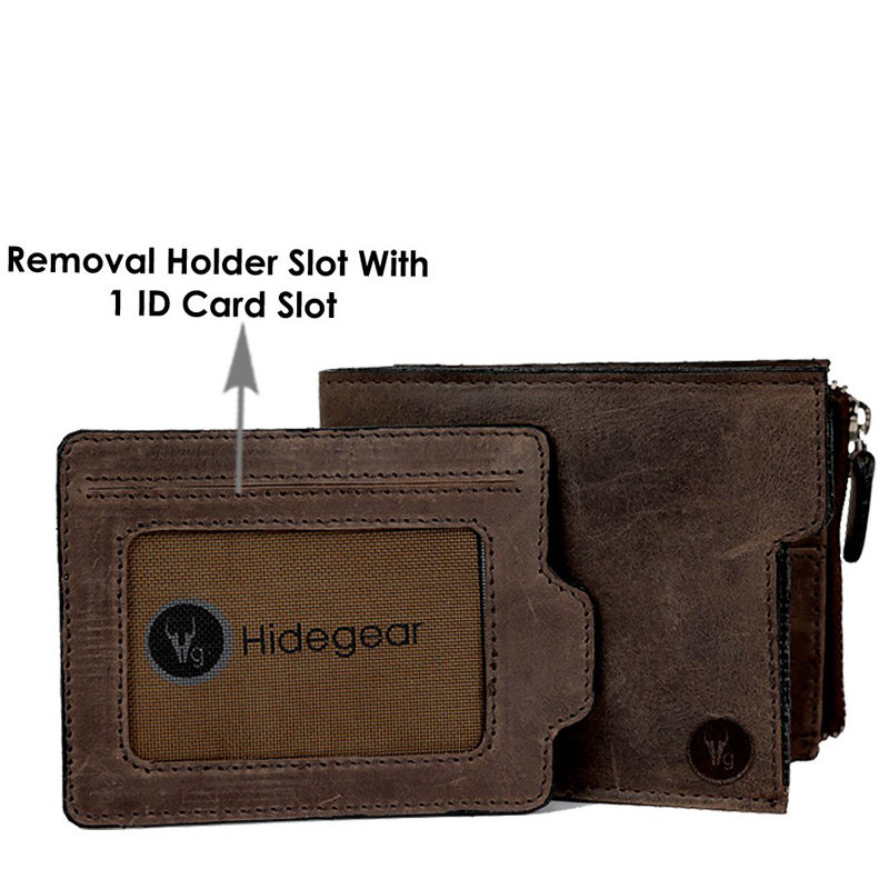 Dark Brown Color Leather Wallet with Removable Holder with 1 ID Card Slot
