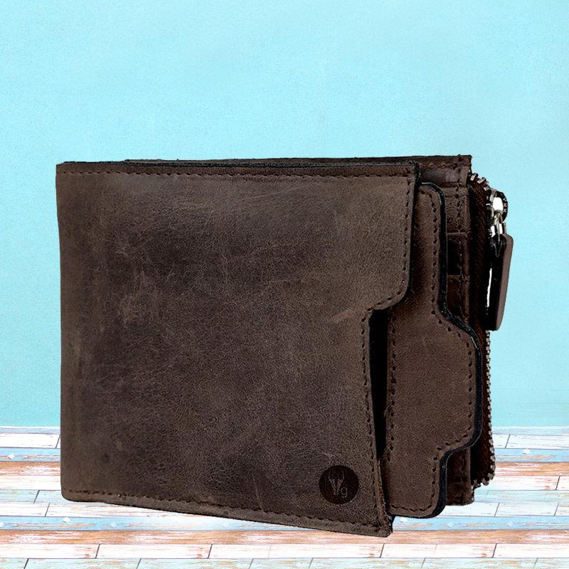 Dark Brown Color Leather Wallet for Men - 11.5X10 cm