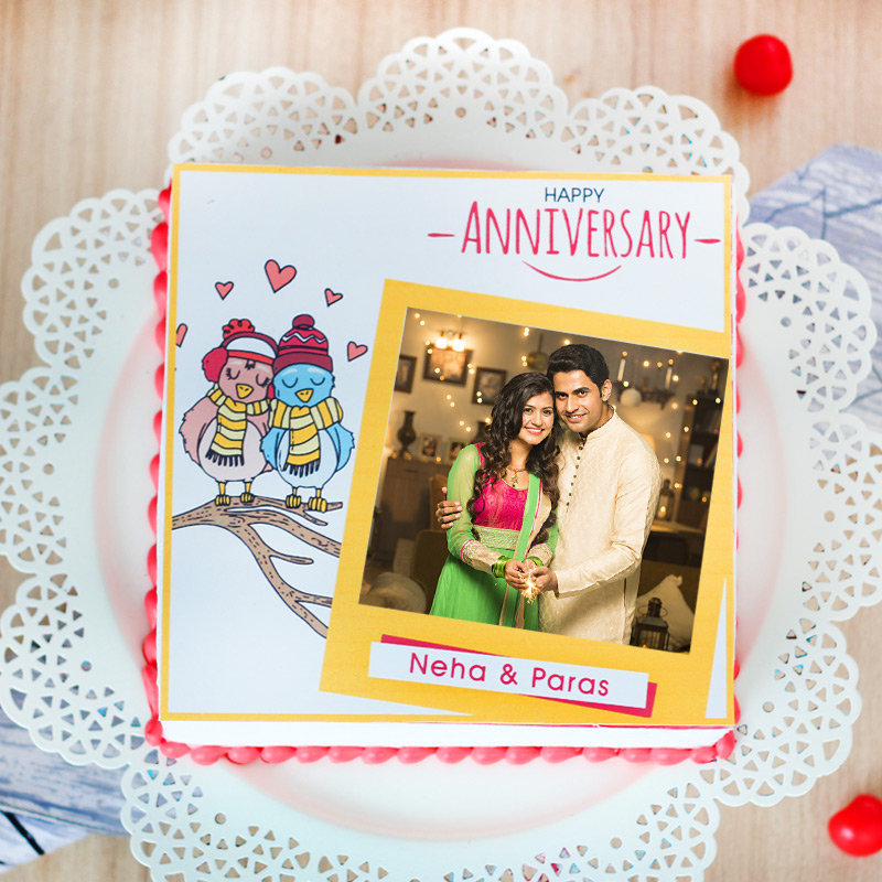 Love Birds photo cake for marriage anniversary
