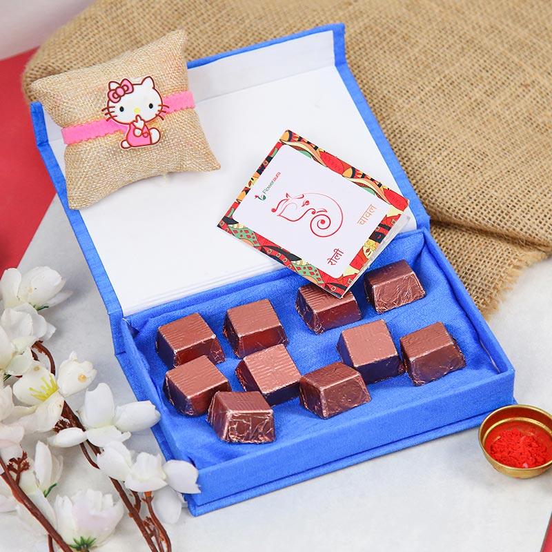 Adorable Kitty Rakhi Combo - Cartoon Rakhi, Handmade Chocolate With Box