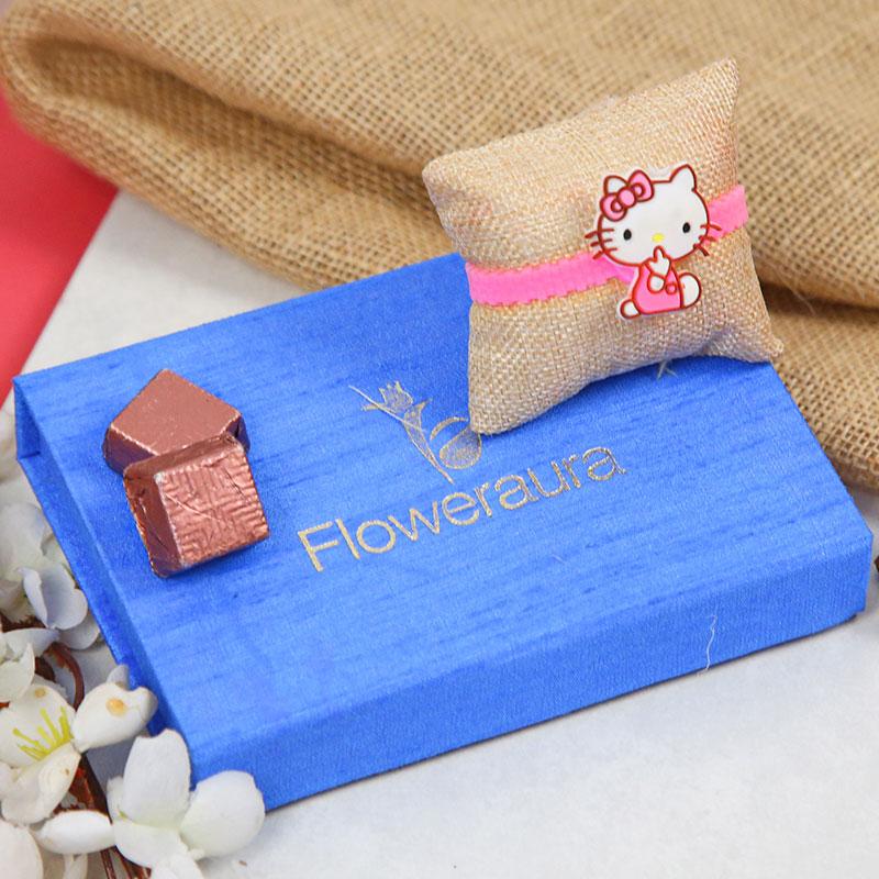 Cartoon Rakhi, Handmade Chocolate With Box - Adorable Kitty Rakhi Combo