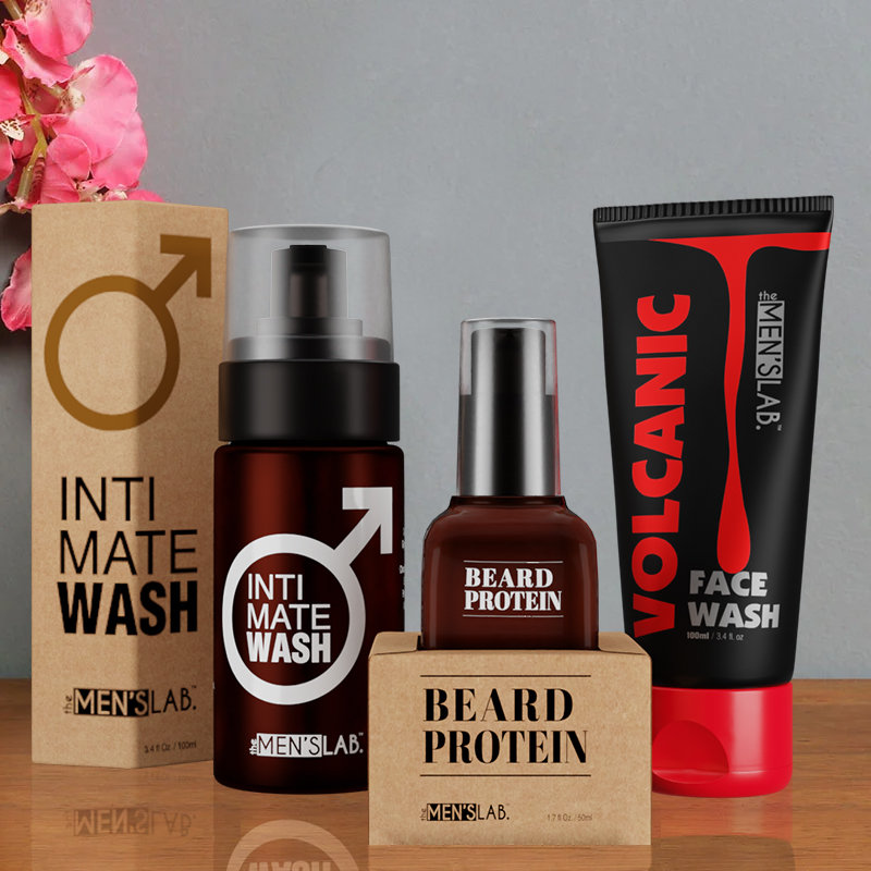All Inclusive Men Kit - Volcanic Face Wash 100ml and Intimate Wash 100ml with Beard Protein 50ml