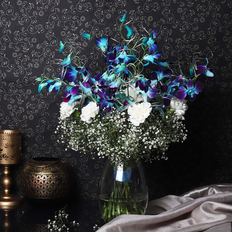 Alluring Orchids And Carnations Vase