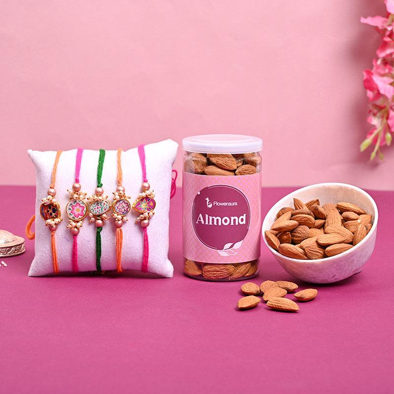 Almond Designer Rakhi Set Combo