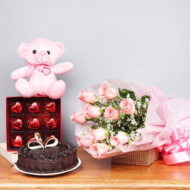 Half Kg Chocolate Cake Pink Teddy Nine Heart Shaped Chocolates Ten Pink Roses Bunch