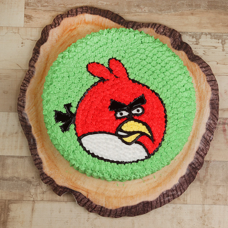 Top view of Angry Bird Birthday Cake
