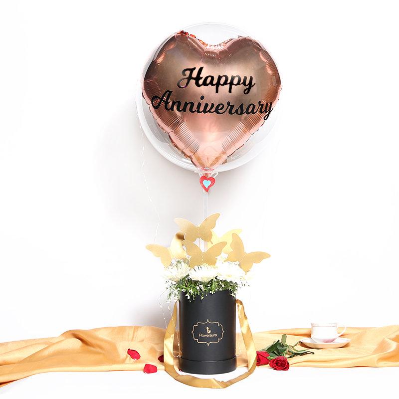 Anniversary Balloon N Flowers