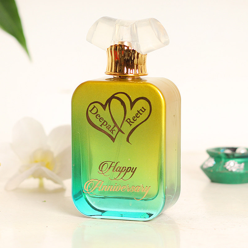 Customize Perfume Bottle with 2 Engraved Hearts For Anniversary