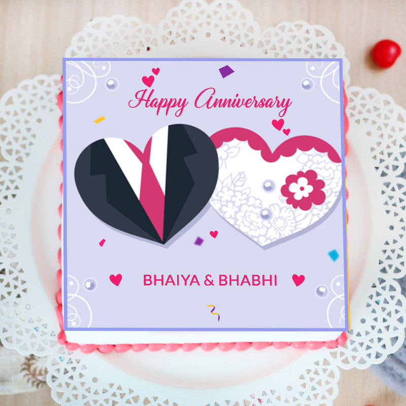 Happy Anniversary Poster Cake for Bhaiya Bhabhi