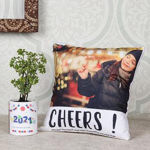 Arelia New Year Combo Gift a Personalized Mug Vase and Cushion