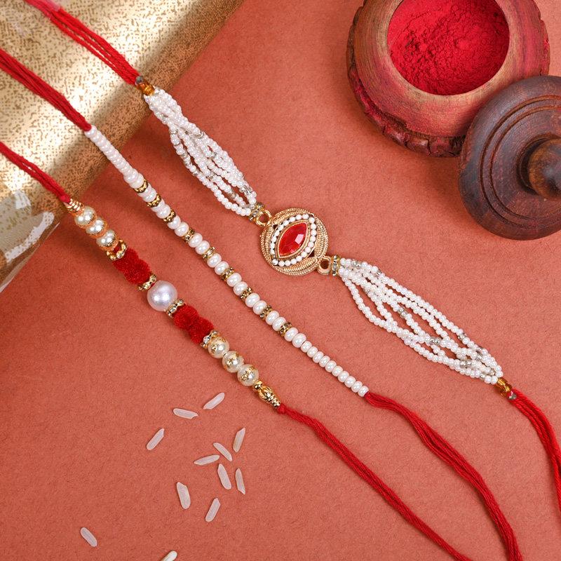 Aristocratic Rakhi Pack - Set of 3 Designer Rakhi
