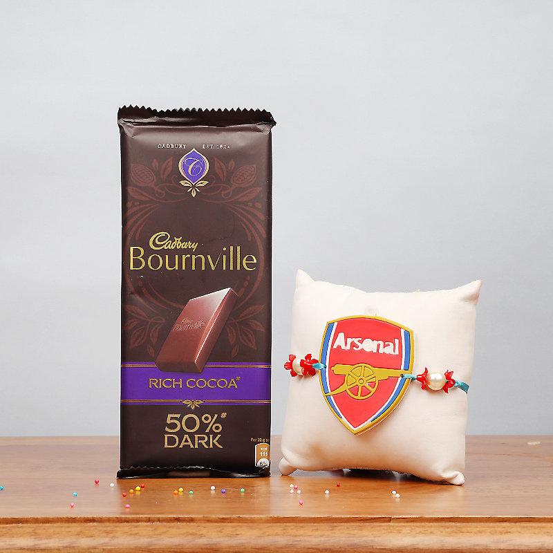 Arsenal FC Rakhi and Cadbury Bournville Combo for Kids