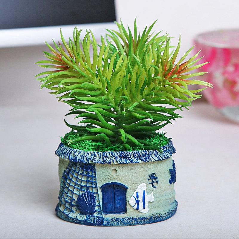 Artificial Plant In Fish Hut Vase