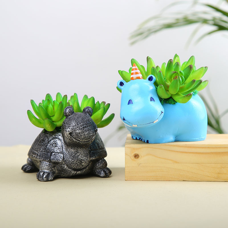 Artificial Plants In Cute Hippo And Turtle Planters