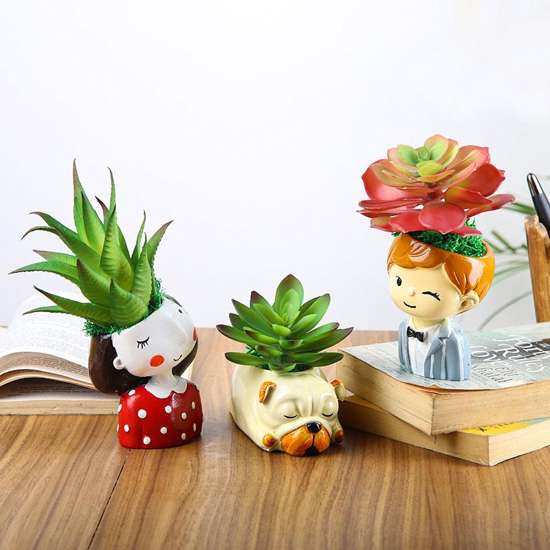 Artificial Plants In Figurine Vases