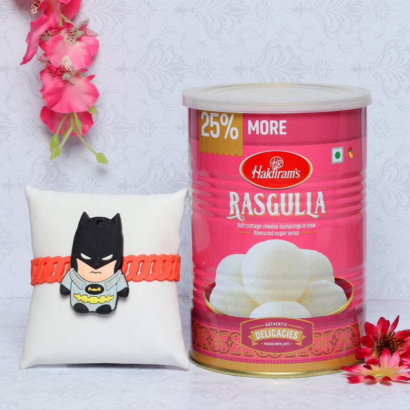 Batman Rakhi With Rasgulla Tin