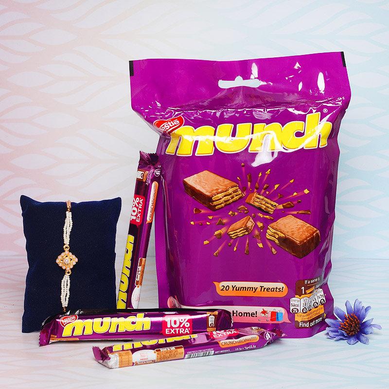 Bead Rakhi With Munch Choco Pack