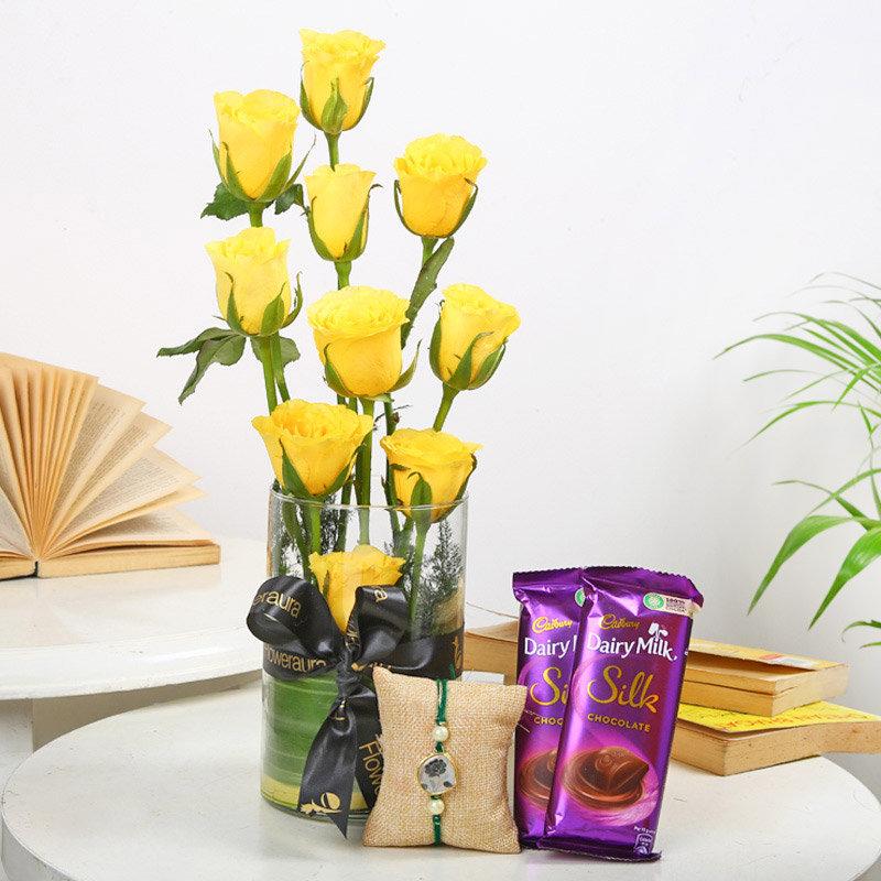 Bead Roses Rakhi Set