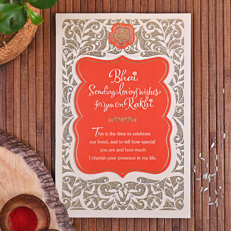 Beaded Rakhi Charming Card Combo