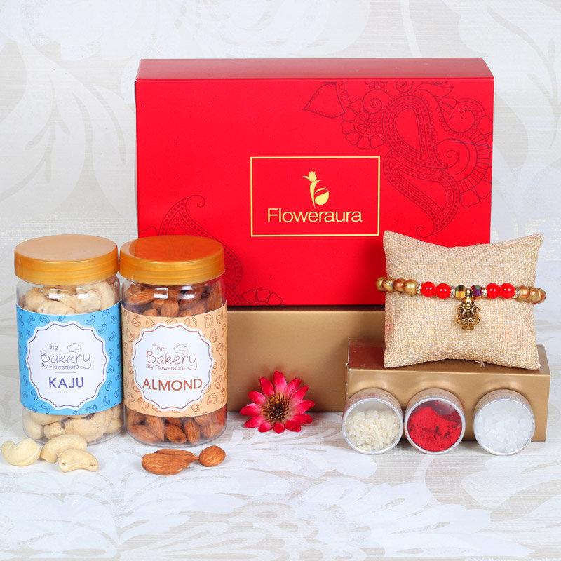 Beaded Rakhi Signature Box - One Pearl Rakhi with Roli and Chawal and Almonds and Cashews and One Floweraura Signature Box