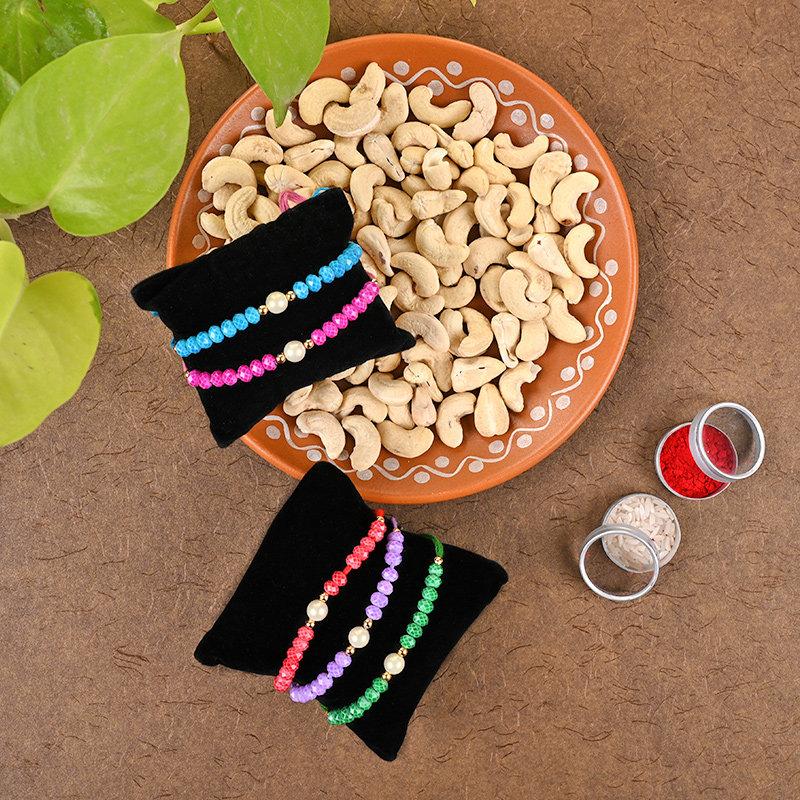 Beaded Strings Rakhi Set With Cashews