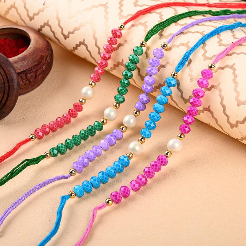 Beads Of Color Rakhi Set - Pearl Rakhi