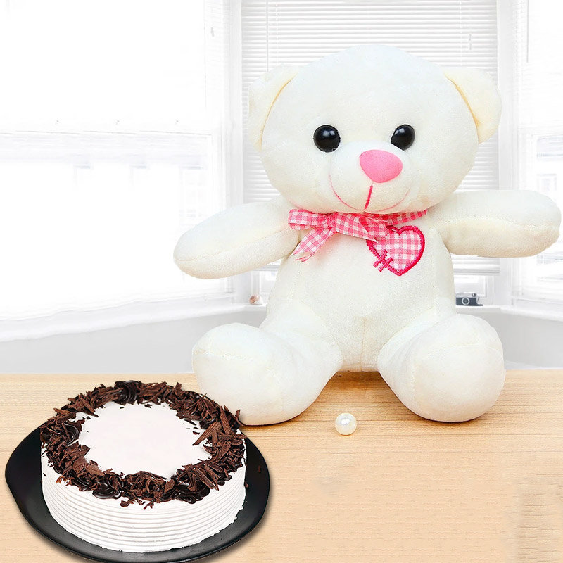 Beary Chocolatey Combo - 6 Inch Teddy with 1 Kg Black Forest Cake