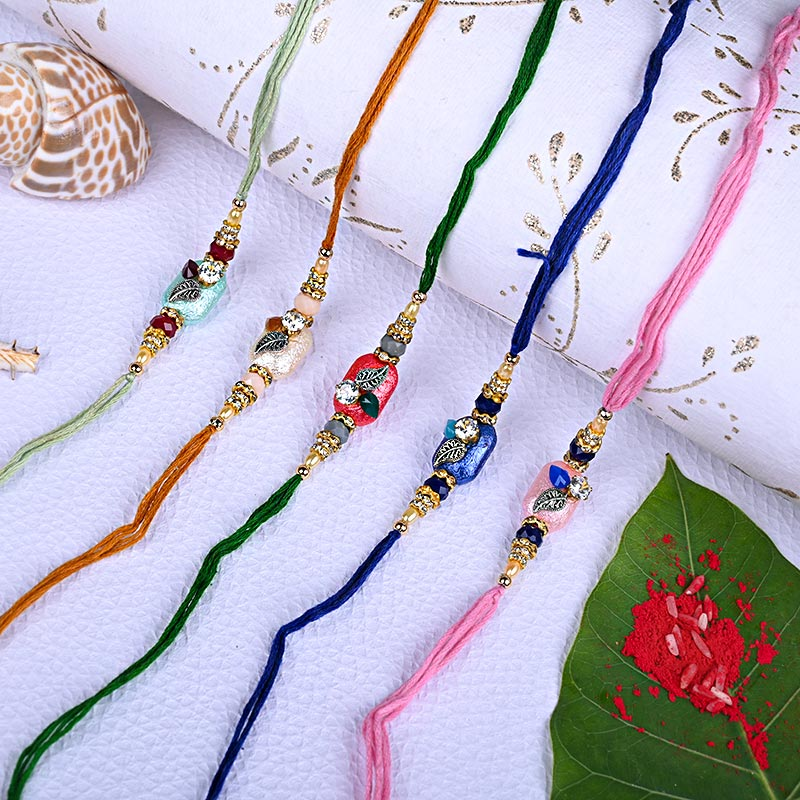 Beautiful Beads Rakhi Set - Set of 5 Designer Rakhi