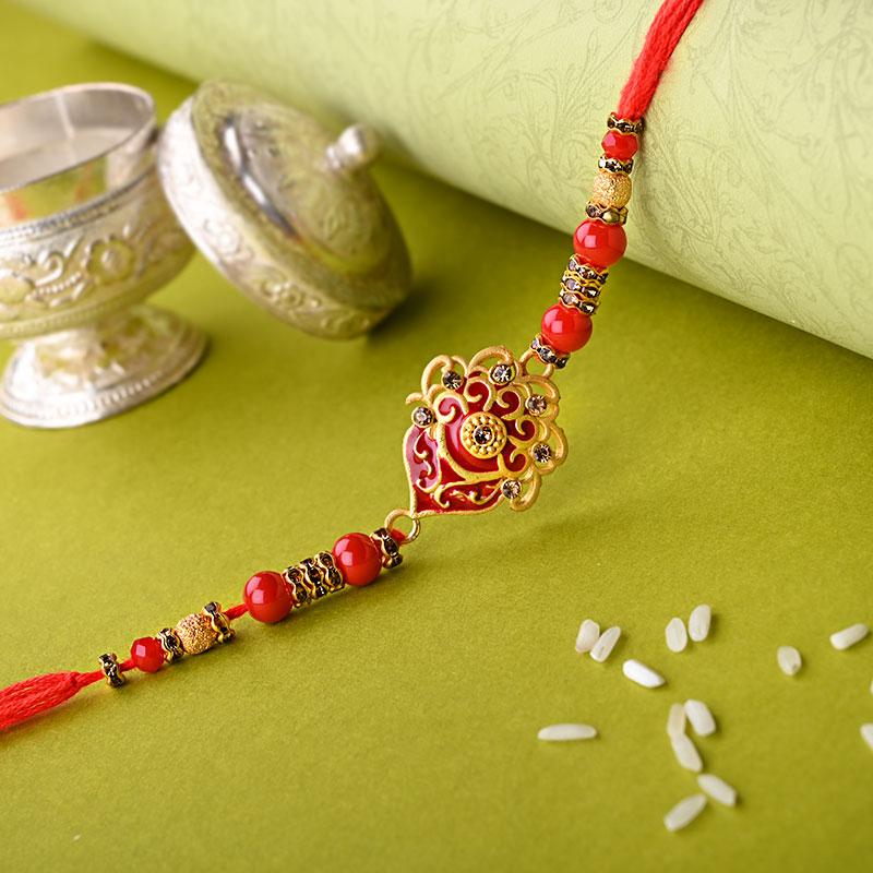 Beautiful Golden N Red Rakhi - One Designer Rakhi