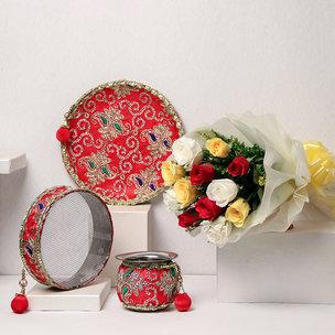 Karwa Chauth Thali Set with Flowers